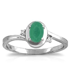 Genuine 0.51 ctw Emerald & Diamond Ring Jewelry 14KT White Gold - REF-32H3X