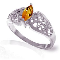 Genuine 0.20 CTW Citrine Ring Jewelry 14KT White Gold - REF-47Y2F
