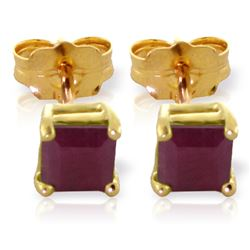 Genuine 0.80 ctw Ruby Earrings Jewelry 14KT Yellow Gold - REF-20V7W