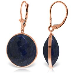 Genuine 46 ctw Sapphire Earrings Jewelry 14KT Rose Gold - REF-62Y3F
