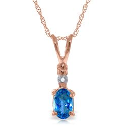 Genuine 0.46 ctw Blue Topaz & Diamond Necklace Jewelry 14KT Rose Gold - REF-21A6K