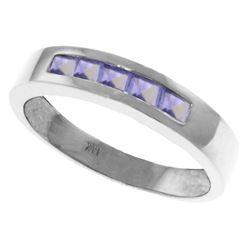 Genuine 0.50 ctw Tanzanite Ring Jewelry 14KT White Gold - REF-49F8Z