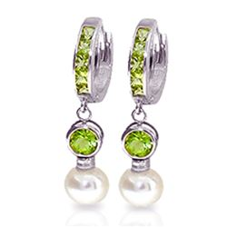Genuine 4.3 ctw Peridot & Pearl Earrings Jewelry 14KT White Gold - REF-48X3M