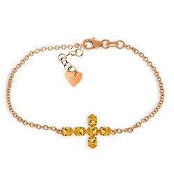 Genuine 1.70 ctw Citrine Bracelet Jewelry 14KT Rose Gold - REF-59Y8F