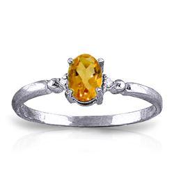 Genuine 0.46 ctw Citrine & Diamond Ring Jewelry 14KT White Gold - REF-27A3K