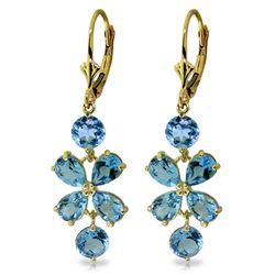 Genuine 5.32 ctw Blue Topaz Earrings Jewelry 14KT Yellow Gold - REF-50X3M