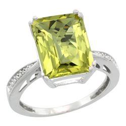 Natural 5.42 ctw Lemon-quartz & Diamond Engagement Ring 14K White Gold - REF-60N3G