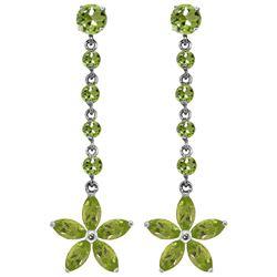Genuine 4.8 ctw Peridot Earrings Jewelry 14KT White Gold - REF-56T8A
