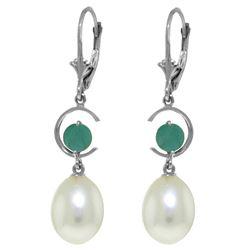 Genuine 9 ctw Pearl & Emerald Earrings Jewelry 14KT White Gold - REF-39X4M