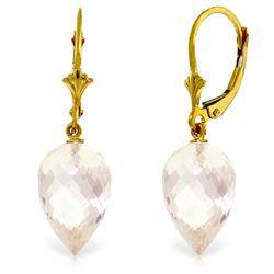 Genuine 24.5 ctw White Topaz Earrings Jewelry 14KT Yellow Gold - REF-48N3R