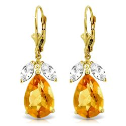 Genuine 13 ctw Citrine & White Topaz Earrings Jewelry 14KT Yellow Gold - REF-61V2W