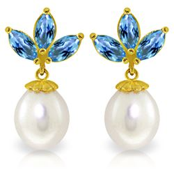 Genuine 9.5 ctw Blue Topaz & Pearl Earrings Jewelry 14KT Yellow Gold - REF-31T2A