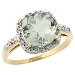Natural 3.92 ctw Green-amethyst & Diamond Engagement Ring 14K Yellow Gold - REF-35K2R