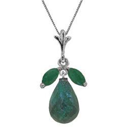 Genuine 9.3 ctw Green Sapphire Corundum & Emerald Necklace Jewelry 14KT White Gold - REF-30R2P
