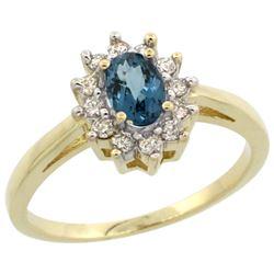 Natural 0.67 ctw London-blue-topaz & Diamond Engagement Ring 14K Yellow Gold - REF-48F6N