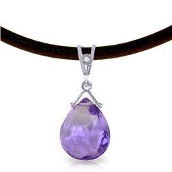 Genuine 6.51 ctw Amethyst & Diamond Necklace Jewelry 14KT White Gold - REF-26F9Z