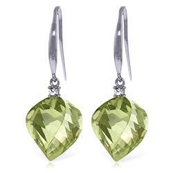 Genuine 26.1 ctw Green Amethyst & Diamond Earrings Jewelry 14KT White Gold - REF-55Z3N