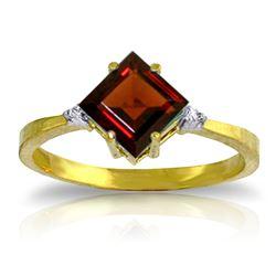 Genuine 1.77 ctw Garnet & Diamond Ring Jewelry 14KT Yellow Gold - REF-28Y8F