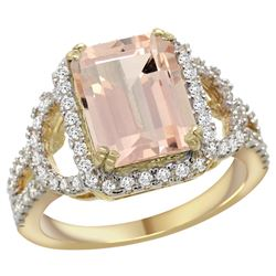 Natural 3.58 ctw morganite & Diamond Engagement Ring 14K Yellow Gold - REF-130A2V