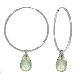 Genuine 4.5 ctw Green Amethyst Earrings Jewelry 14KT White Gold - REF-26R2P