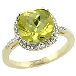 Natural 4.11 ctw Lemon-quartz & Diamond Engagement Ring 14K Yellow Gold - REF-42A9V