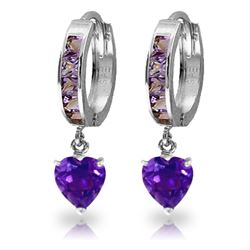 Genuine 4.1 ctw Amethyst Earrings Jewelry 14KT White Gold - REF-52F2Z