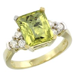 Natural 2.86 ctw lemon-quartz & Diamond Engagement Ring 14K Yellow Gold - REF-64V7F