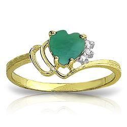 Genuine 1.02 ctw Emerald & Diamond Ring Jewelry 14KT Yellow Gold - REF-36T9A