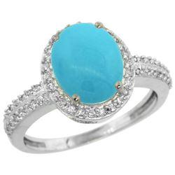 Natural 2.56 ctw Turquoise & Diamond Engagement Ring 14K White Gold - REF-48W6K
