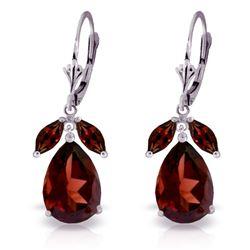 Genuine 13 ctw Garnet Earrings Jewelry 14KT White Gold - REF-71K8V