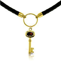 Genuine 0.50 ctw Garnet Necklace Jewelry 14KT Yellow Gold - REF-65Z8N