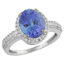 Natural 2.56 ctw Tanzanite & Diamond Engagement Ring 14K White Gold - REF-88Y2X
