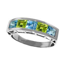 Genuine 2.25 ctw Blue Topaz & Peridot Ring Jewelry 14KT White Gold - REF-54Y2F