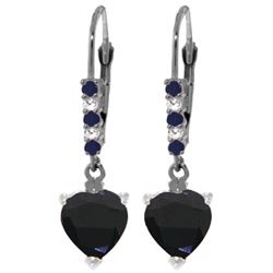 Genuine 3.28 ctw Sapphire & Diamond Earrings Jewelry 14KT White Gold - REF-50P7H