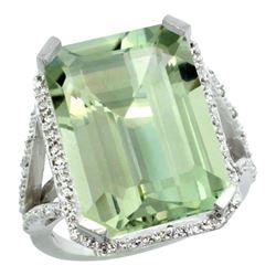 Natural 13.72 ctw green-amethyst & Diamond Engagement Ring 10K White Gold - REF-65R2Z