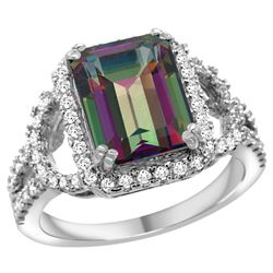 Natural 3.08 ctw mystic-topaz & Diamond Engagement Ring 14K White Gold - REF-106F3N