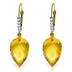 Genuine 19.15 ctw Citrine & Diamond Earrings Jewelry 14KT Yellow Gold - REF-49N2R