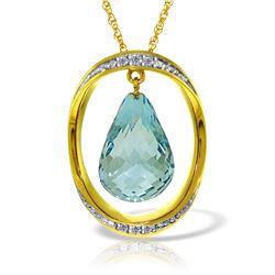 Genuine 11.60 ctw Blue Topaz & Diamond Necklace Jewelry 14KT Yellow Gold - REF-112F2Z