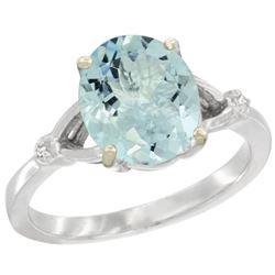 Natural 2.11 ctw Aquamarine & Diamond Engagement Ring 14K White Gold - REF-43W9K