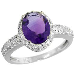 Natural 1.91 ctw Amethyst & Diamond Engagement Ring 14K White Gold - REF-41W3K