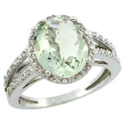 Natural 3.47 ctw Green-amethyst & Diamond Engagement Ring 14K White Gold - REF-46X3A