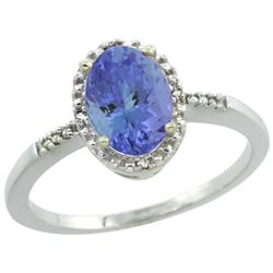 Natural 1.33 ctw Tanzanite & Diamond Engagement Ring 10K White Gold - REF-39F7N