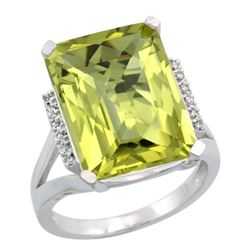 Natural 12.13 ctw Lemon-quartz & Diamond Engagement Ring 10K White Gold - REF-52W2K