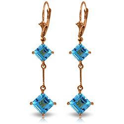 Genuine 3.75 ctw Blue Topaz Earrings Jewelry 14KT Rose Gold - REF-30F6Z