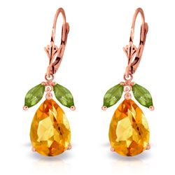 Genuine 13 ctw Citrine & Peridot Earrings Jewelry 14KT Rose Gold - REF-61X2M