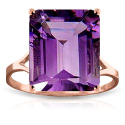 Genuine 6.5 ctw Amethyst Ring Jewelry 14KT Rose Gold - REF-43K8V