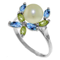 Genuine 2.63 ctw Blue Topaz & Peridot Ring Jewelry 14KT White Gold - REF-28R5P