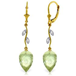 Genuine 19.02 ctw Green Amethyst & Diamond Earrings Jewelry 14KT Yellow Gold - REF-51Z9N