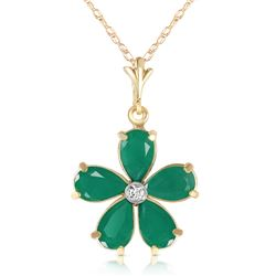 Genuine 2.22 ctw Emerald & Diamond Necklace Jewelry 14KT Yellow Gold - REF-40P7H