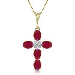 Genuine 1.75 ctw Ruby & Diamond Necklace Jewelry 14KT Yellow Gold - REF-44W4Y